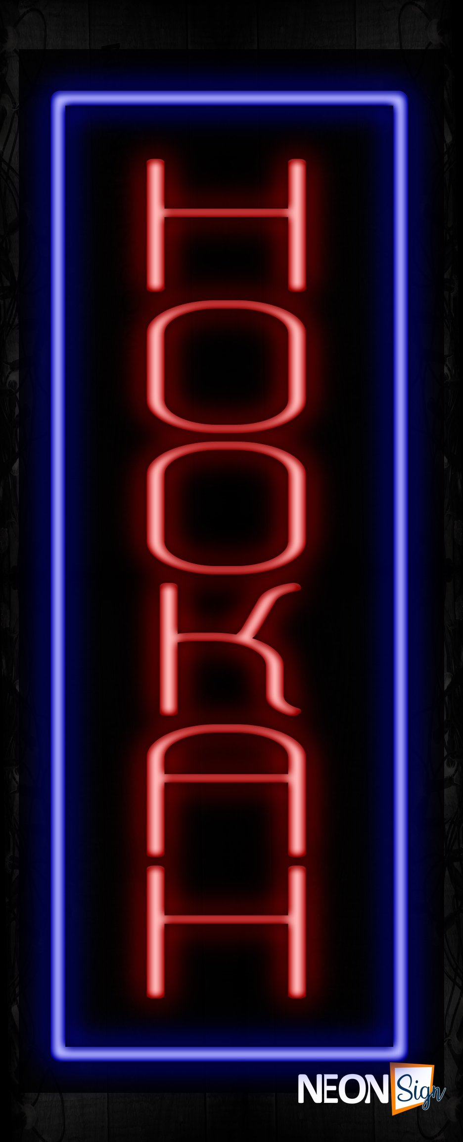 Image of 11235 Hookah with borderline Neon Signs_32 x12 Black Backing