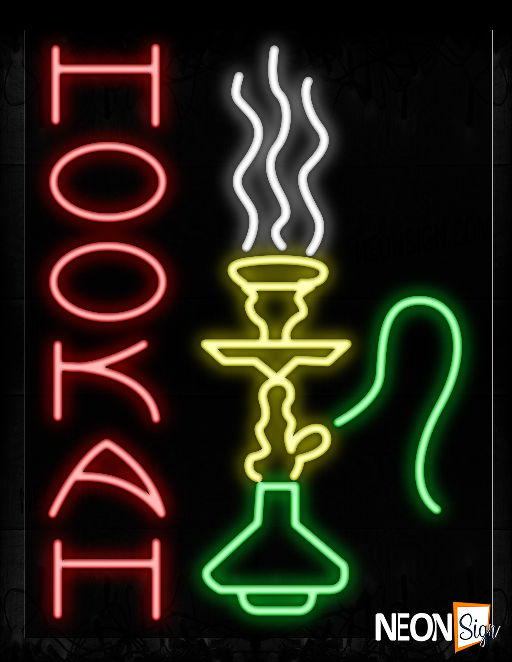 Image of 11250 Hookah With Logo Neon Signs_24x31 Black Backing