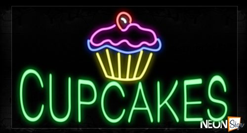 Image of 11281 Cupcakes With Logo Neon Signs_20x37 Black Backing