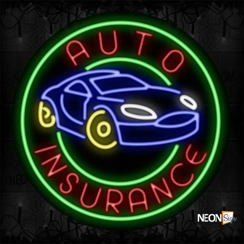 Image of 11309 Auto Insurance Traditional Neon_26x26 Black Backing