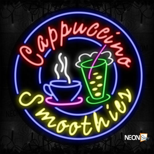 Image of 11311 Cappuccino Smoothies With Circle Border Neon Signs_26x26 Contoured Black Backing