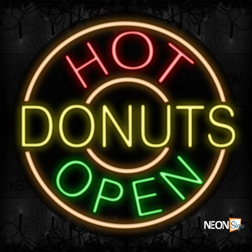 Image of 11319 Hot Donuts Open With Circle Border Neon Signs_26x26 Contoured Black Backing