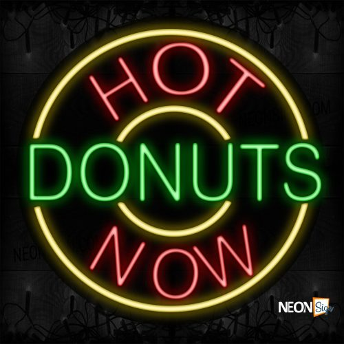 Image of 11320 Hot Donuts Now With Yellow Circle Border Neon Signs_26x26 Contoured Black Backing