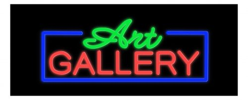 Image of 11351 art galler with blue border led bulb neon sign