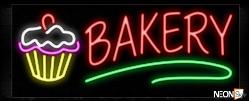 Image of 11357 Bakery with cupcake Traditional Neon_13x32 Black Backing