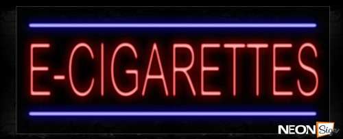 Image of 11384 E-Cigarettes In Red With Blue Lines Neon Signs_13x32 Black Backing
