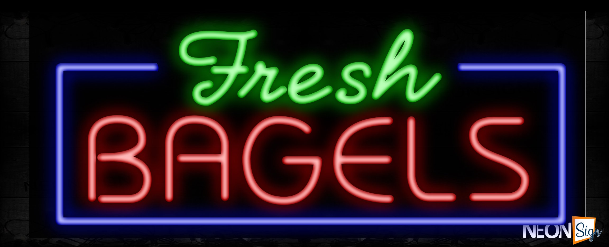 Image of 11407 Fresh Bagels with border Neon Sign_13x32 Black Backing