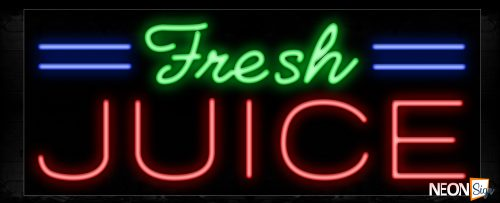 Image of 11410 Fresh Juice with blue lines Neon Sign_13x32 Black Backing