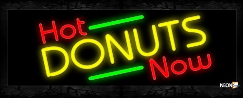 Image of 11423 Hot Donuts Now with green lines Neon Sign 13x32 Black Backing