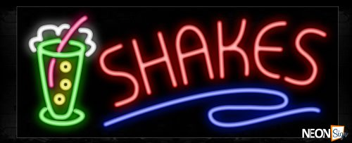 Image of 11475 Shakes with glass logo Neon Sign_13x32 Black Backing
