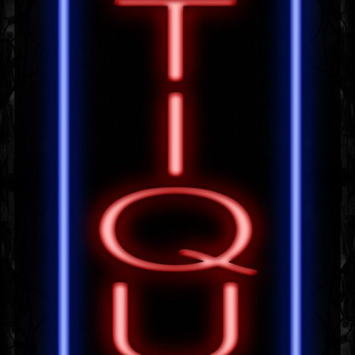 Image of 11515 antiques with blue vertical border led bulb sign_ 32x12 Black Backing
