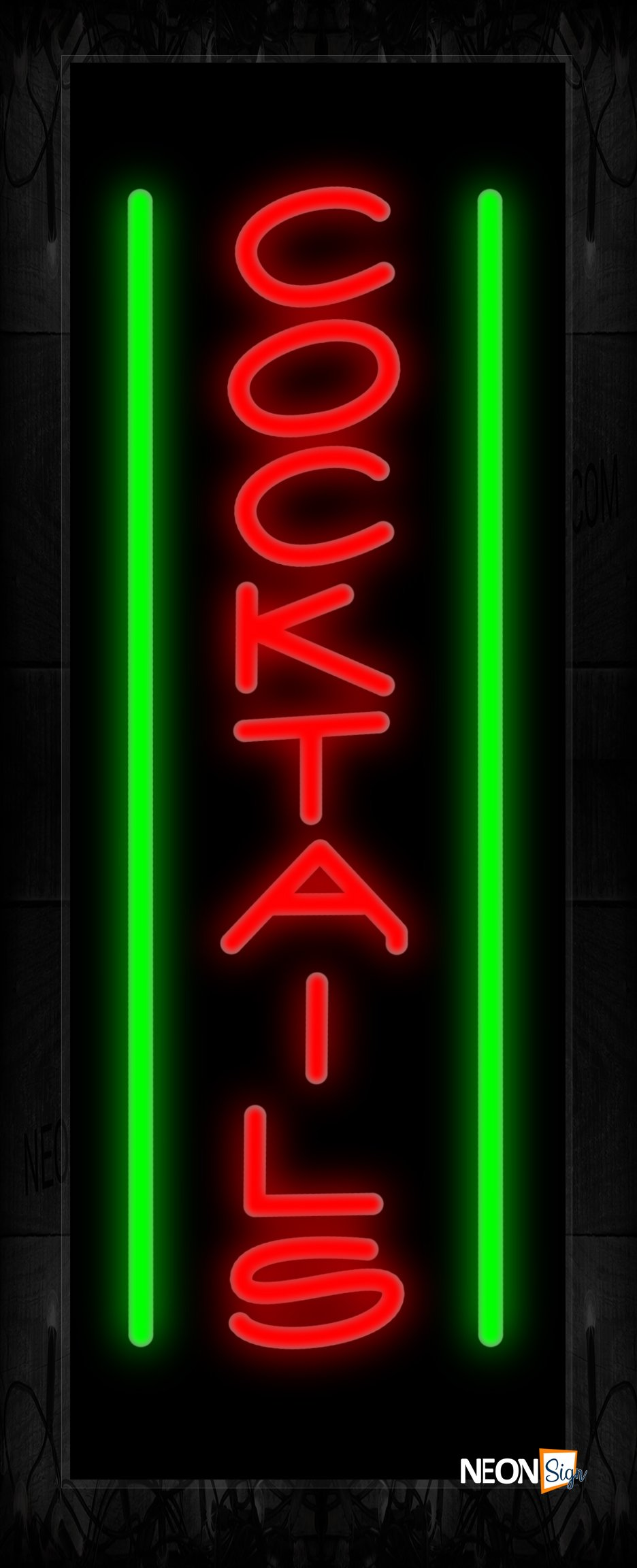 Image of 11535 Cocktails with vertical line Neon Sign 13x32 Black Backing