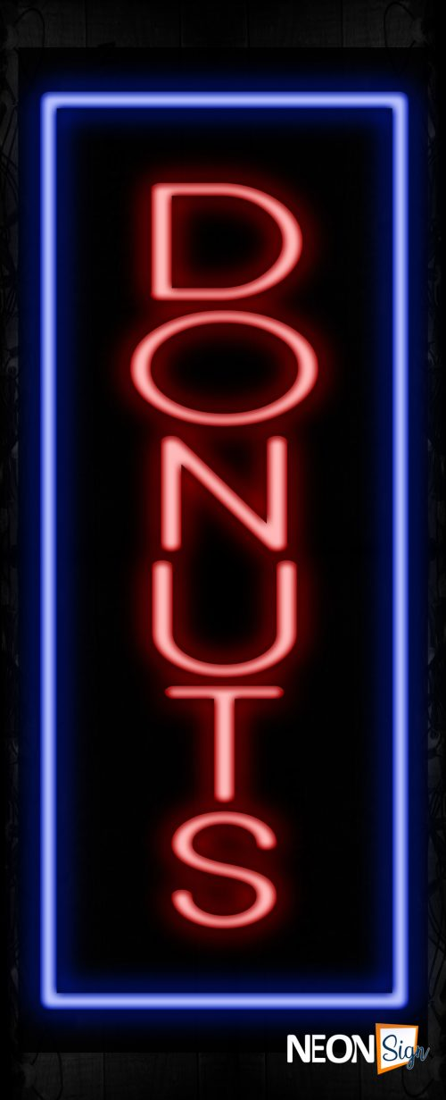 Image of 11542 Donuts with border sing Neon Sign_32 x12 Black Backing
