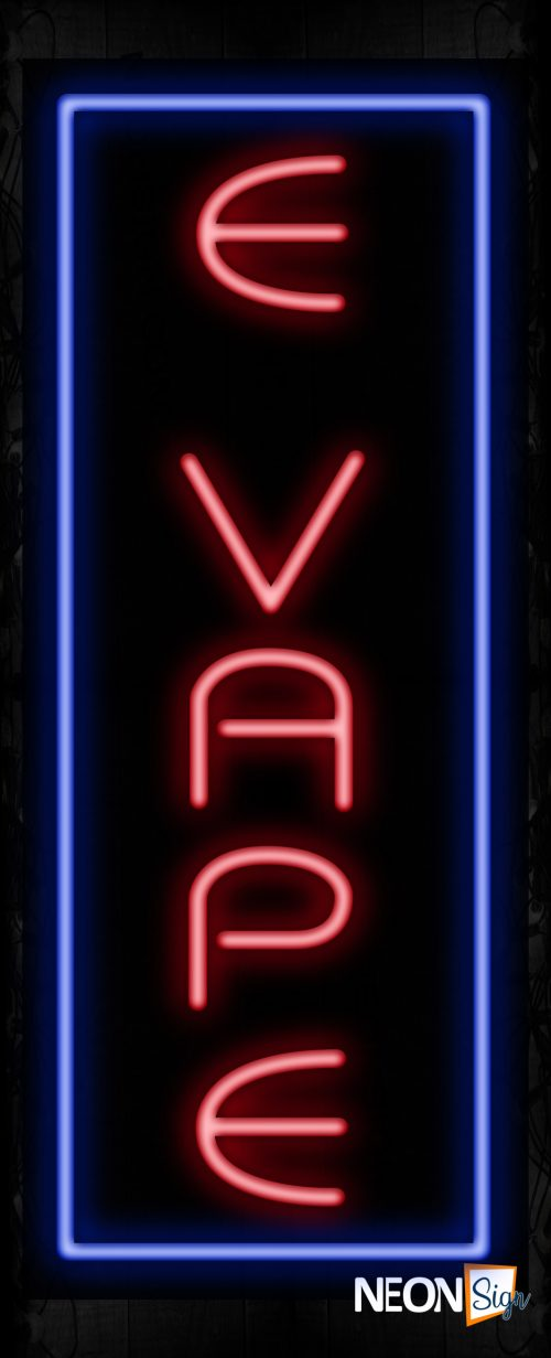 Image of 11552 E vape with blue vertical border led bulb sign_ 32x12 Black Backing