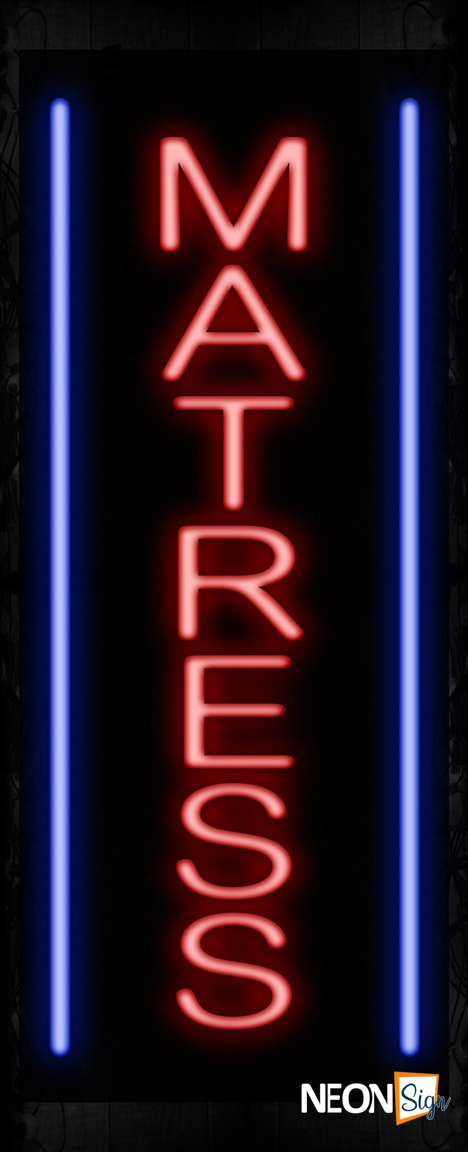 Image of 11590 Mattress in red with blue border Neon Sign_32 x12 Black Backing