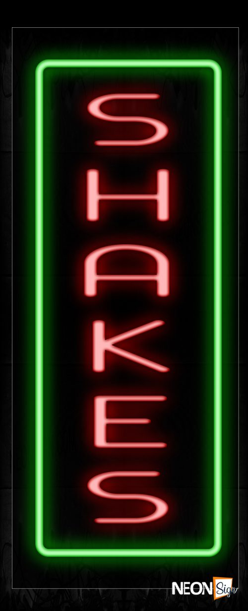 Image of 11620 Shakes In Red With Green Border (Vertical) Neon Signs_13x32 Black Backing