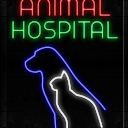 Image of 11653 Animal Hospital With Dog Logo Neon Sign_20x37 Black Backing