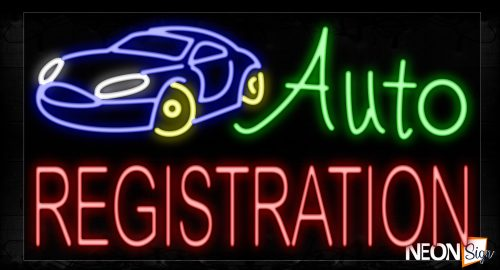 Image of 11654 Auto Registration With Car Logo Neon Signs_20x37 Black Backing