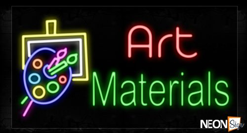 Image of 11656 Art Materials With Logo Neon Signs_20x37 Black Backing