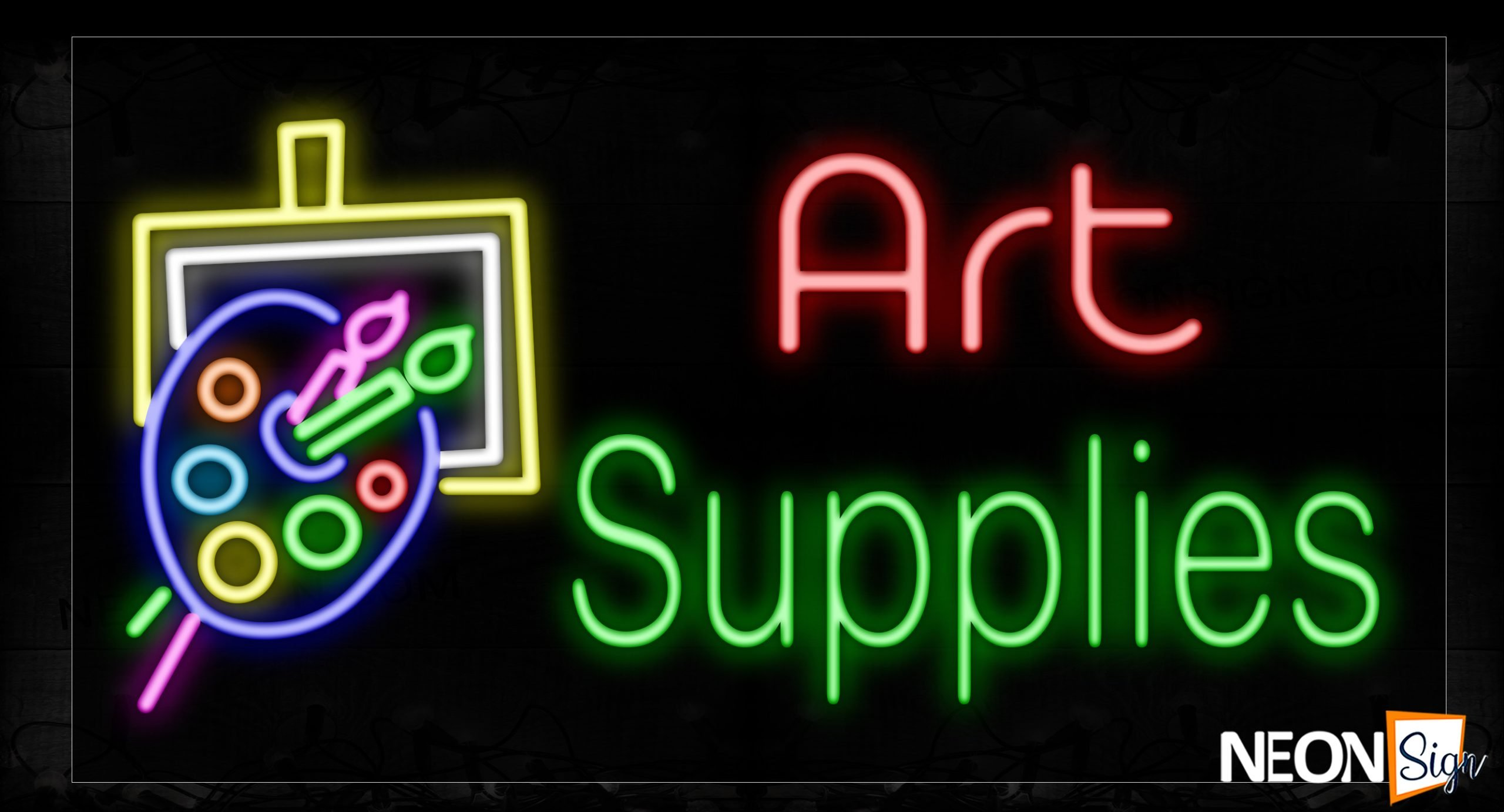 Image of 11657 Art Supplies with logo Neon Signs_20x37 Black Backing