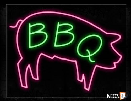 Image of 11661 Pork Bbq Neon Signs_24x31 Black Backing