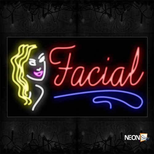 Image of 11699 Facial With Face Logo Neon Signs_20x37 Black Backing
