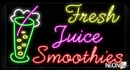 Image of 11712 Fresh Juice Smoothies With Glass Logo Neon Signs_20x37 Black Backing