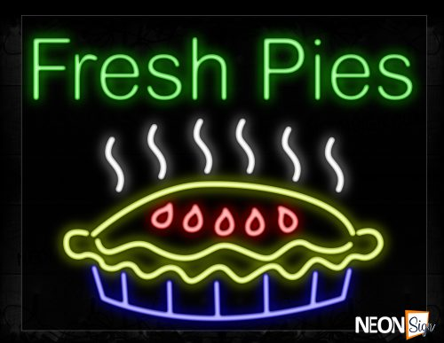 Image of 11713 Fresh Pies With Logo Neon Signs_24x31Black Backing