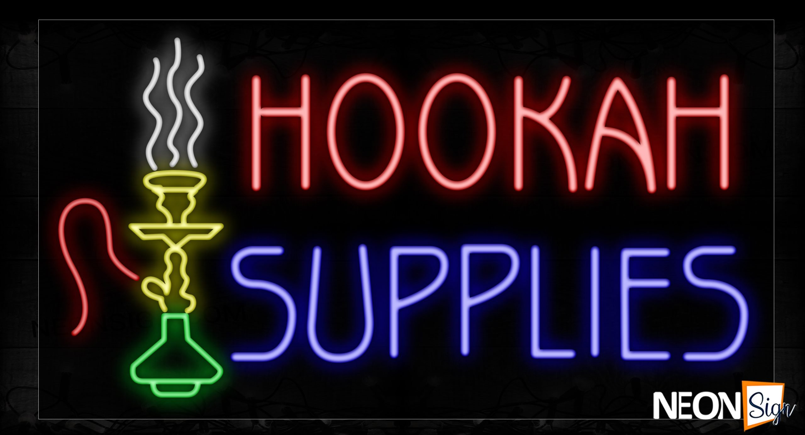 Image of 11730 Hookah Supplies With Logo Neon Signs_20x37 Black Backing