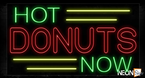 Image of 11733 Hot Donuts Now With Yellow Lines Neon Signs_20x37 Black Backing