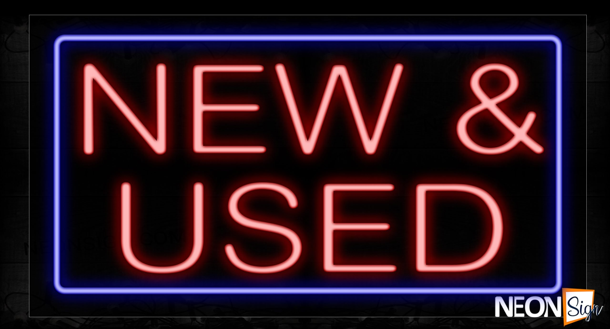 Image of 11754 New & Used In Red With Blue Border Neon Signs_20x37 Black Backing