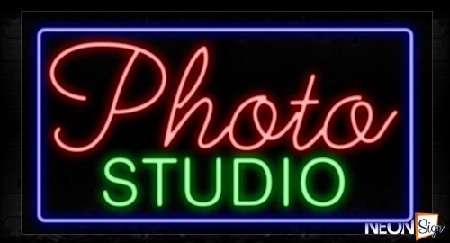 Image of 11767 Photo Studio With Blue Border Led Bulb Neon Signs_20x37 Black Backing