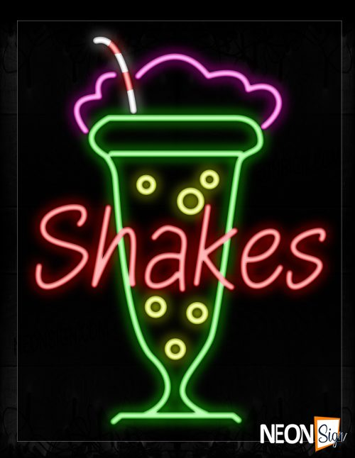 Image of 11779 Shakes With Drinks Logo Neon Signs_24x31 Black Backing