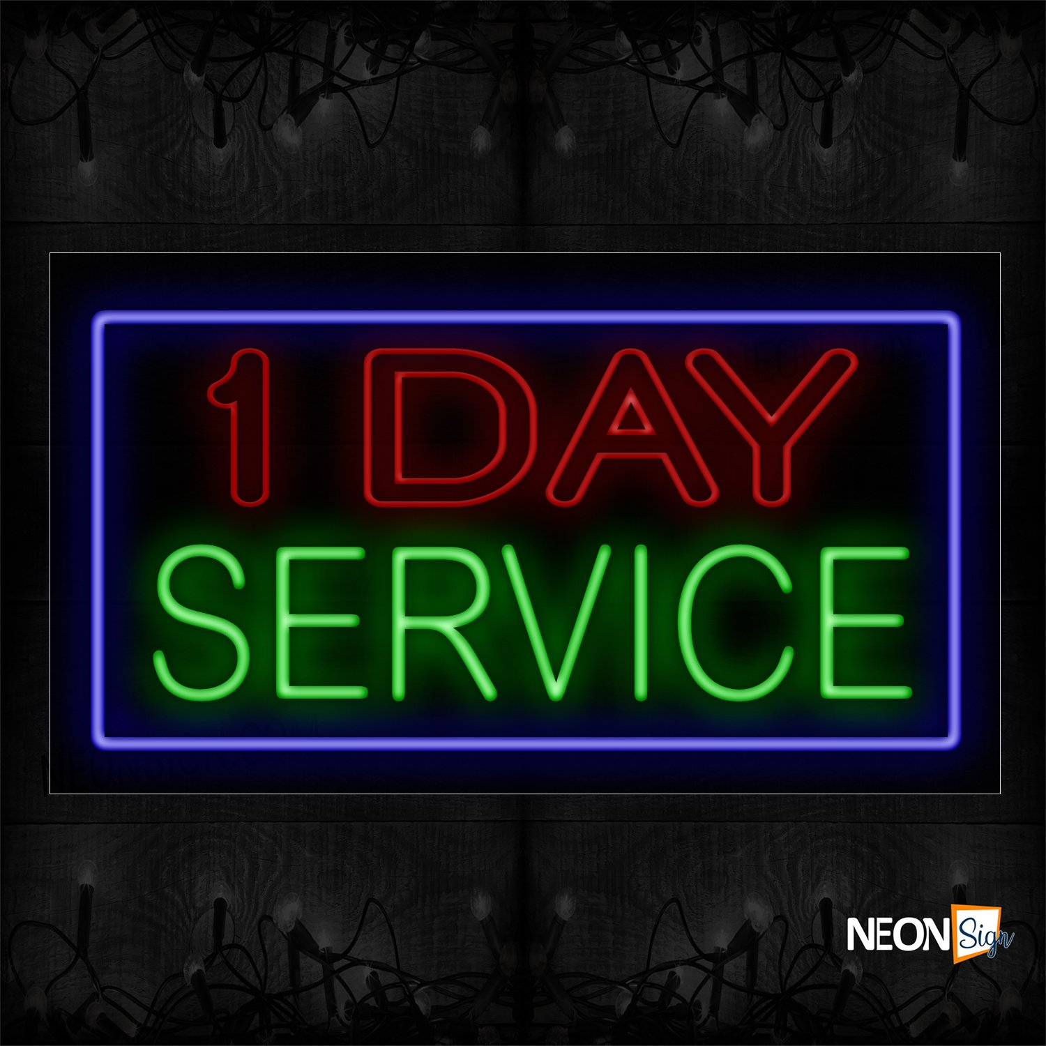 Image of 11799 1 Day Service With Border Neon Signs_20x37 Black Backing