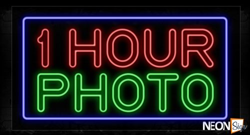 Image of 11800 Double Stroke 1 Hour Photo With Blue Border Neon Signs_20x37 Black Backing