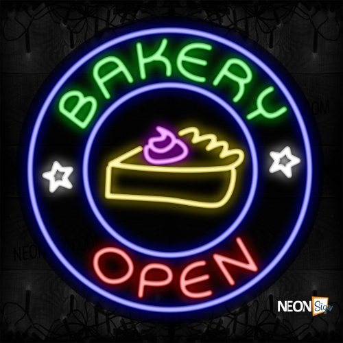 Image of 11803 Bakery Open With A Slice Of Cake On Circle Traditional Neon_26x26 Contoured Black Backing
