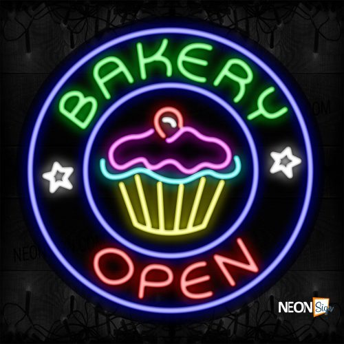 Image of 11804 Bakery Open With Circle Border Neon Signs_26x26 Contoured Black Backing