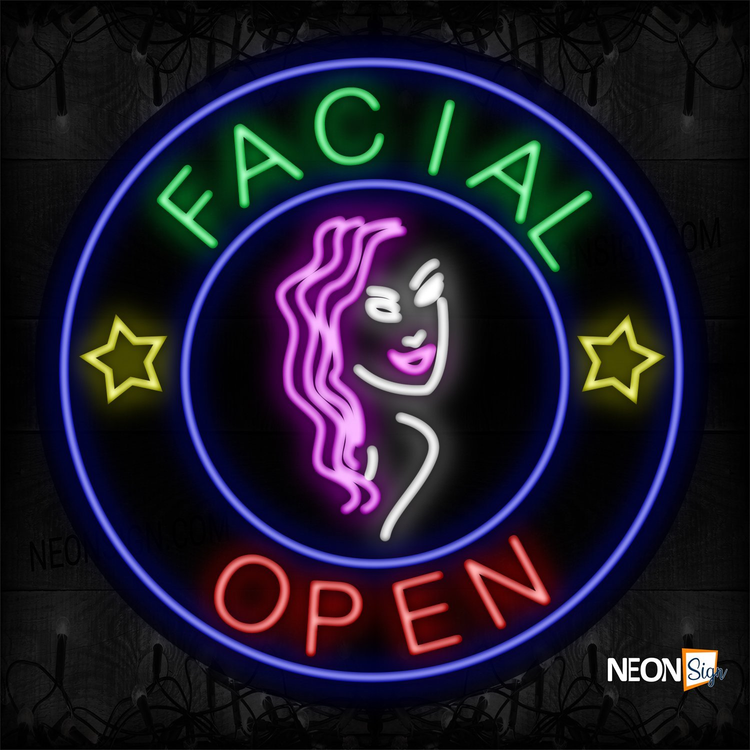 Image of 11814 Facial Open With Face Sign Logo Neon Signs_26x26 Black Backing