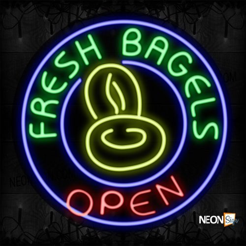 Image of 11818 Fresh Bagels Open With Blue Circle Border And Logo_26x26 Contoured Black Backing