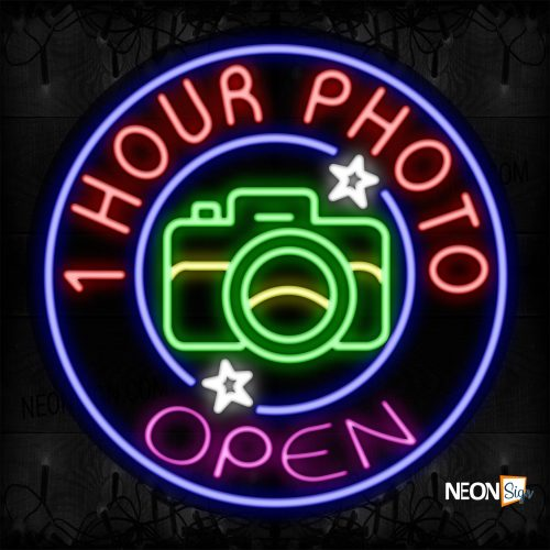 Image of 11836 Open 1 Hour Photo With Blue Circle Border Led Bulb Sign_26x26 Contoured Black Backing