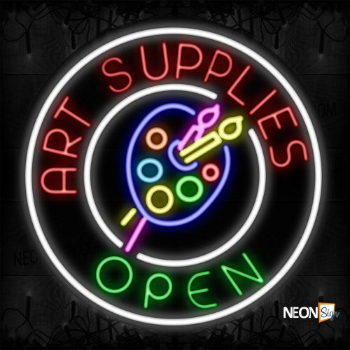 Image of 11839 Art Supplies Open With Logo And White Circle Border Neon Signs_26x26 Contoured Black Backing