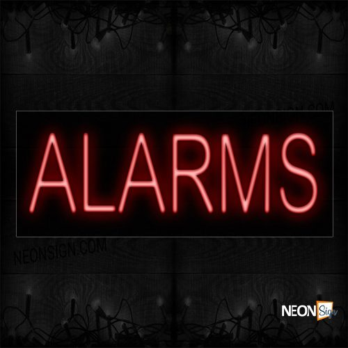 Image of 12003 Alarms In Red Neon Signs_10x24 Black Backing
