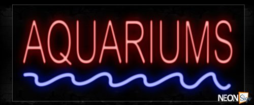 Image of 12005 Aquariums With Blue Waves Neon Sign_10x24 Black Backing