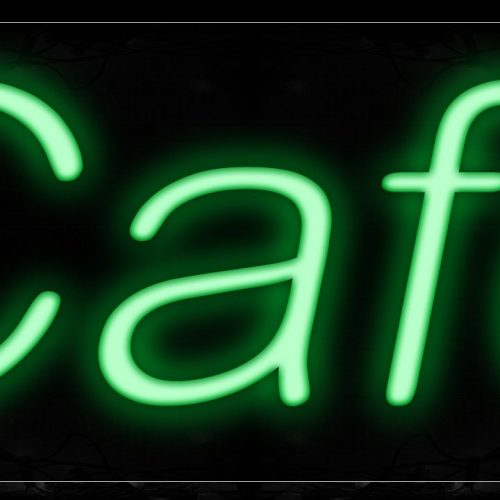 Image of 12030 Cafe In Green Neon Signs_10x24 Black Backing