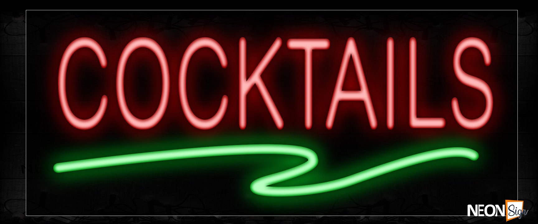 Image of 12040 Cocktails In Red With Green Line Neon Signs_10x24 Black Backing