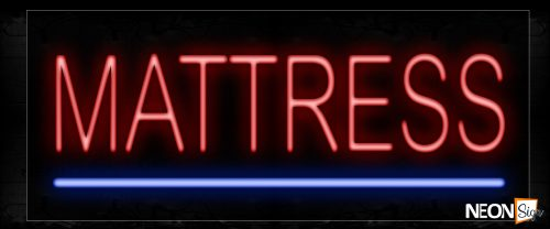 Image of 12099 Mattress In Red Neon Signs_10x24 Black Backing
