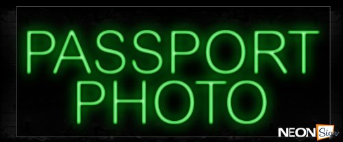 Image of 12125 Passport Photo in green Neon Signs_10x24 Black Backing