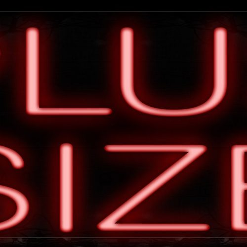 Image of 12139 Plus Size In Red Neon Signs_10x24 Black Backing