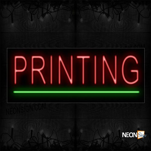 Image of 12141 Printing In Red With Green Line Neon Signs_10x24 Black Backing