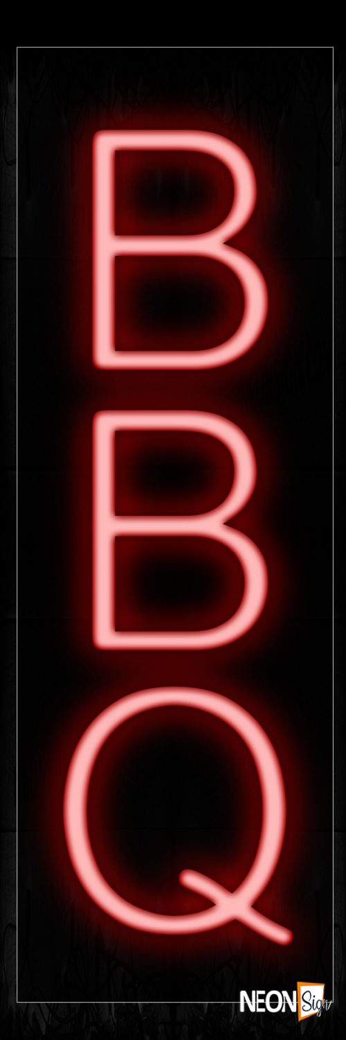 Image of 12201 Bbq (Vertical) Neon Signs_8x24 Black Backing